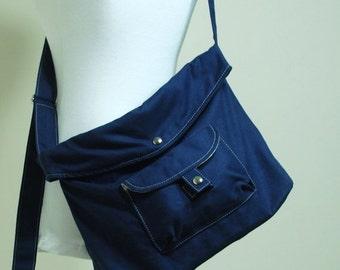 CHRISTMAS in July 30% + Mysterious Gift - BAGGO in Navy Blue (Water Resistant) Laptop/ Shoulder bag / Handbag / Purse / Hobo / Gift for her