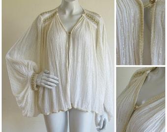 Grecian Golden Thread Gauzy Cotton Balloon Sleeve Jacket Duster