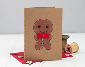Gingerbread Man Christmas Card - Cute Christmas Card - Gingerbread man card - Handmade Christmas Card