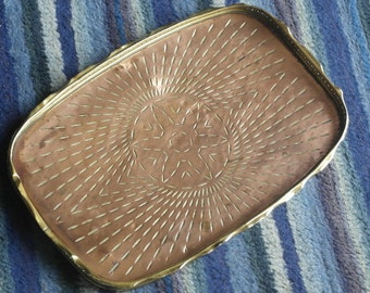 antiue copper and brass hand worked GBN drinks serving tray