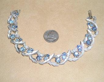 Vintage Light Blue Rhinestone Bracelet 1960's Jewelry 6026