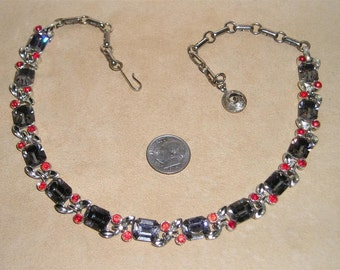 Vintage Lisner Necklace With Black Diamond And Red Rhinestones Rhodium Plated 1960's Signed Choker Jewelry 6035