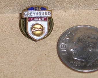 Vintage Brass And Enamel Grey Hound Bus Lapel Pin 1940's Jewelry 6034