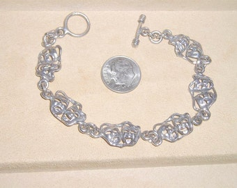 Vintage Sterling Silver Comedy And Tragedy Toggle Bracelet 1970's Signed Jewelry 163