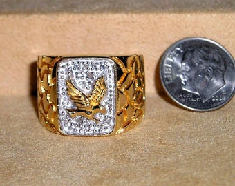 Vintage Men's Eagle Sterling Silver Ring With Gold Overlay 1980's Size 10 Signed Jewelry 6047