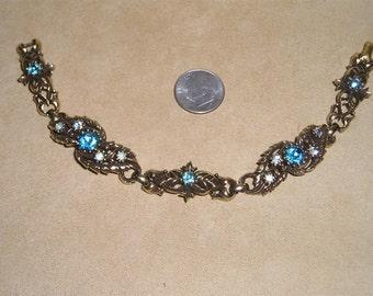 Vintage Coro Blue Rhinestone Link Bracelet Victorian Revival 1960's Signed Jewelry 6062