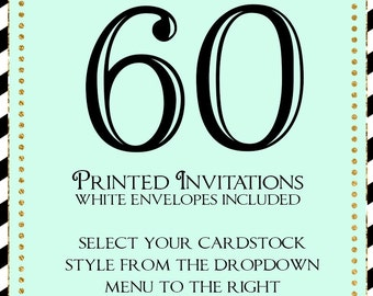 Set of 50 printed invitations/cards- White envelopes included