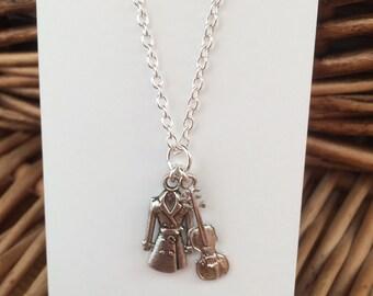 Sherlock Holmes inspired Coat and Violin Charm Necklace #FandomInspiredJewellery