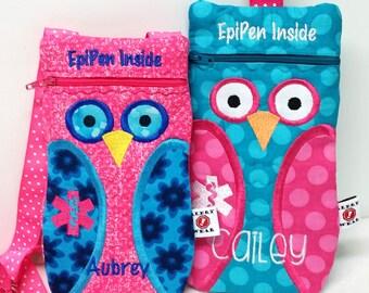 Personalized Owl Epi-Pen / Medicine Pack / Epi-Pen Case / Purse