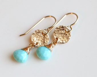 Gold Turquoise Earrings, Turquoise Earrings, Light Blue earrings, Gold Birthstone Earrings, Gemstone Earrings, December Birthstone earrings
