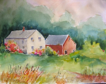 Watercolor Painting New England Farm House Red Barn  12 x 16  CarlottasArt Original Art