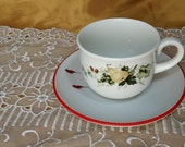 Vintage & newer Mismatched 2 Piece Breakfast China Set Pair - Coffee Cup, Saucer, Royal Kent, Hazel Ammerman, Shabby Cottage Chic Red Bird
