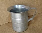 Vintage Aluminum 1 Quart Qt. Measuring Cup - Industrial Farmhouse Shabby Chic Decor - Alegacy metal .9 liters