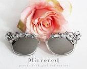 Crystal Clear Embellished Stunner Shades, Mirrored wayfarers, Mirrored Sunglasses,Jeweled Wayfarers, Beach Sunglasses, wedding sunglasses