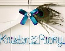 Peacock Wedding Hanger, Peacock Theme Wedding, Peacock Blue