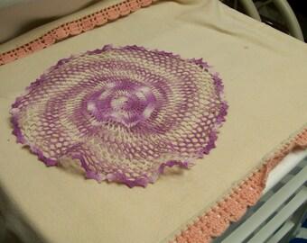Vintage Crocheted Doily Hand Stitched Purple Crochet Doily Table Top Swirl Pinwheel Design Circa 1960s