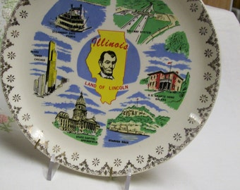 Vintage Illinois Souvenir Plate Famous Places in Illinois Land of Lincoln Galena Springfield Chicago Peoria