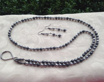 Shades of Gray Pearl ID Badge Lanyard Swarovski Pearl Beaded Lanyard Necklace ID Badge Holder