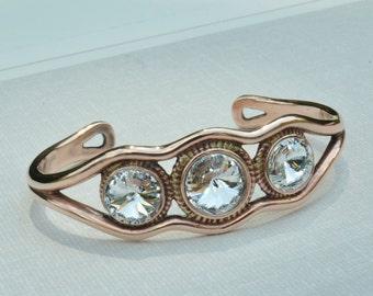 Copper Cuff Bracelet - Swarovski Crystals