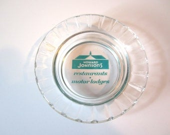 Vintage Howard Johnson's Restaurants and Motor Lodges Ashtray - Teal Logo Advertisement