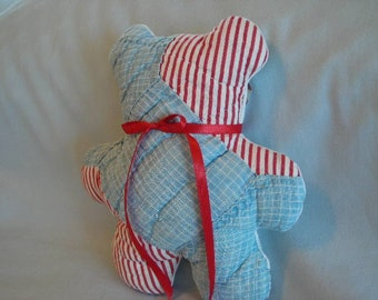 Mini Bear Made from a Vintage Quilt Block Blue Red