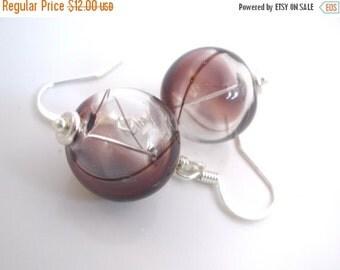 SALE Purple Earrings, White Clear and Brown, Hand Blown Glass Earrings, Hollow Lampwork Glass Earrings, Purple, Grape, Fashion, Silver Earri