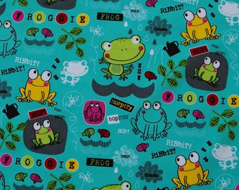C196 - 1 meter  Cotton  Fabric - frogs, fish and leaf (145cm width)
