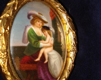 Miniature Oil On Porcelain Mother and Child