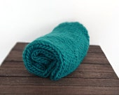 Teal Knitted Chunky Mini Blanket/ Mat/ Basket Stuffer Photo Prop, Wool Baby Blanket, Any Color