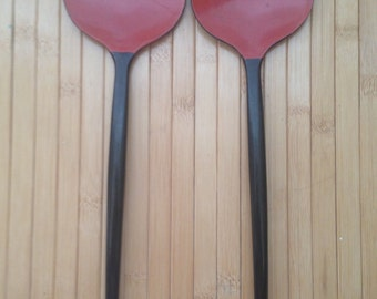 Beautiful vintage red and black lacquer serving set