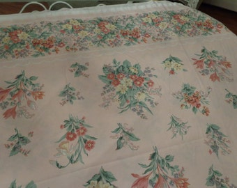 VINTAGE Field Crest pink floral size flat sheet from the 70's
