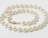 Swarovski Pearl Necklace - Medium Cream Hand Knotted Pearls - Princess Length