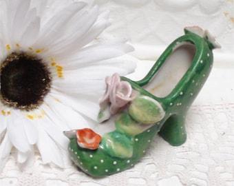 Vintage Kitschy Green Polka Dot Shoe Japan 4 Inch