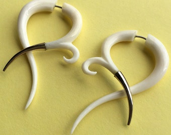 FREYA - Hand Carved White Bone Fake Gauge Earrings - Metal Tipped - Tribal Style Jewelry
