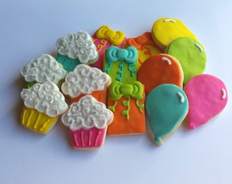 Mini Birthday Sugar Cookies - Cupcake, Birthday Gift, Balloon - 3 Dozen