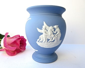 Blue Vase Wedgwood Jasperware Blue Made in England Greek Mythology Pegasus