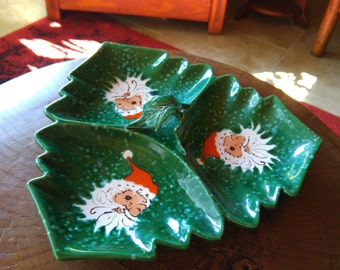 Vintage Winking Santa Tree Platter by NORCREST made in Japan. Excellent condition