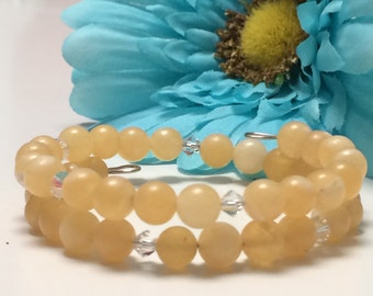 Yellow Calcite memory wire bracelet
