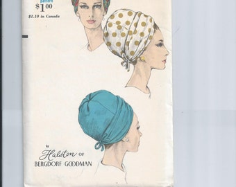 Vintage Vogue 1960s Turban Hat Sewing Pattern Size 22 Halston of Bergdorf Goodman Vogue 6606 UNCUT