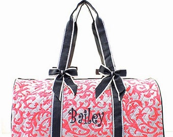 Personalized Quilted Large Damask Duffel Bag Gym Dance or Overnight Coral & White with Gray Trim Monogrammed FREE