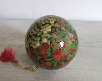 Paper Mache Ball, Christmas Tree Ornament, Decoupage Ball, Floral Design, Decorative Ball, String and Tassel, Made in India