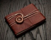 Leather Journal or Leather Sketchbook, Medium Sized, Wooden Button Closure, Redwood Brown Leather Handbound Notebook