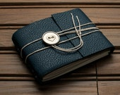 Leather Journal or Leather Sketchbook, Pocket Sized, Metallic Heart Button Closure, Arctic Blue Leather Handbound Notebook
