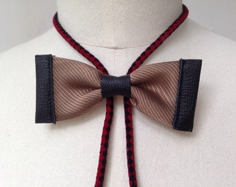 Brown silk bow tie with black leather and red/black bolo cord (B24)