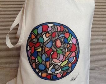 Tote bag- cotton tote bag - fabric tote bag - reusable bag - long handle tote bag- bags and purses