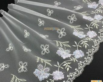 Terylene Lace Trim White Tulle Lace Trim Floral Embroidery Lace Trim 21cm Width -- 2 Yards (LACE258)