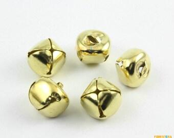 100Pcs 15mm Gold Bells Jingle Bells Pet Bells Cross Bells (JSSZLD15)