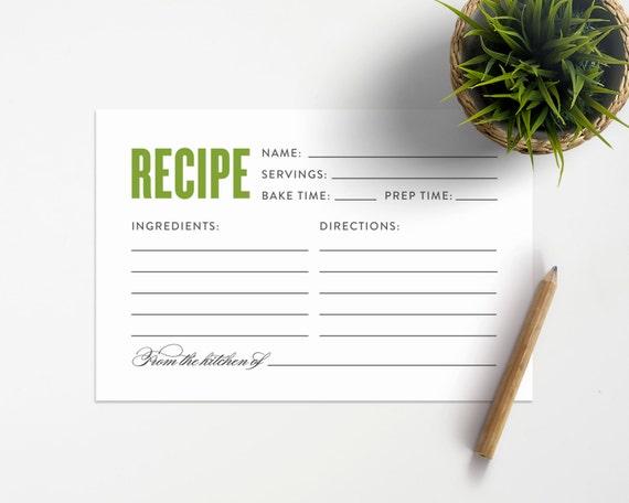 Old Fashioned Recipe Card