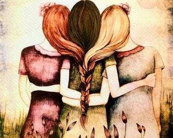 Three sisters red, blonde and brown hair art print