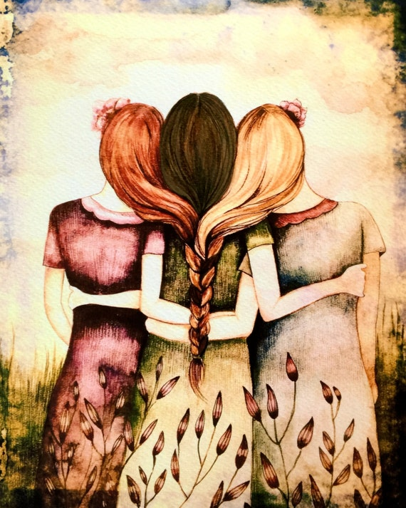 Three sisters red, blonde and brown hair art print
